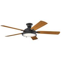 Kichler 310017DBK Hatteras Bay 60 inch Distressed Black with WALNUT/CHERRY Blades Indoor/Outdoor Ceiling Fan