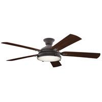 Kichler 310017WZC Hatteras Bay 60 inch Weathered Zinc with MEDIUM WALNUT/DARK WALNUT Blades Indoor/Outdoor Ceiling Fan