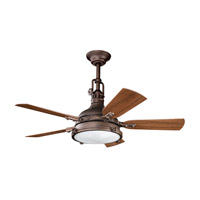 Hatteras Bay Patio Weathered Copper Powder Coat with Walnut Blades Outdoor Fan