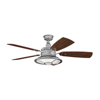 Kichler 310102GST Harbour Walk Patio Galvanized Steel with Walnut Blades Fan