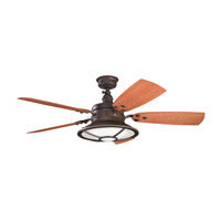 Kichler 310102TZP Harbour Walk Patio Tannery Bronze Powder Coat with Walnut Blades Outdoor Fan