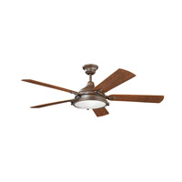 Kichler Hatteras Bay Patio 4 Light Ceiling Fan in Tannery Bronze Powder Coat 310117TZP