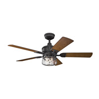 Lyndon Patio 52 inch Distressed Black with Walnut/Walnut Shadowed Blades Ceiling Fan
