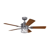 Lyndon Patio 52 inch Weathered Steel Powder Coat with Walnut Blades Ceiling Fan