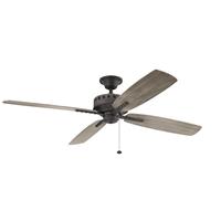 Kichler 310165WZC Eads 65 inch Weathered Zinc with Weathrd Med Oak Blades Ceiling Fan