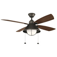 Kichler 310181OZ Seaside 52 inch Olde Bronze with Walnut Blades Ceiling Fan photo thumbnail