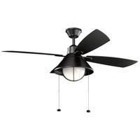 Kichler 310181SBK Seaside 54 inch Satin Black with SILVER/BLACK Blades Indoor/Outdoor Ceiling Fan
