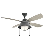 Kichler 310181WZC Seaside 54 inch Weathered Zinc with WHTRD WHT WALNU Blades Indoor/Outdoor Ceiling Fan