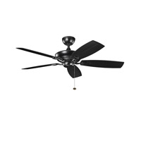 Kichler 310192SBK Canfield Satin Black with Sat Nat Black Blades Outdoor Fan