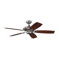 Canfield Patio Weathered Steel Powder Coat Walnut Outdoor Fan