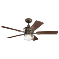 Kichler 310239OZ Lyndon Patio 52 inch Olde Bronze with MEDIUM WALNUT/DARK WALNUT Blades Indoor/Outdoor Ceiling Fan