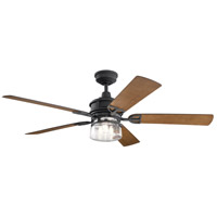 Kichler 310240DBK Lyndon Patio 60 inch Distressed Black with WALNUT SHADOWED/LIGHT WALNUT Blades Indoor/Outdoor Ceiling Fan