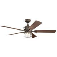 Kichler 310240OZ Lyndon Patio 60 inch Olde Bronze with MEDIUM WALNUT/DARK WALNUT Blades Indoor/Outdoor Ceiling Fan