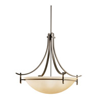 Kichler 3279OZ Olympia 5 Light 36 inch Olde Bronze Inverted Pendant Ceiling Light in Sunset Marble Glass