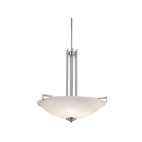 Kichler 3299CHL16 Eileen 4 Light 26 inch Chrome Inverted Pendant Ceiling Light in LED, Satin Etched Cased Opal, Dimmable