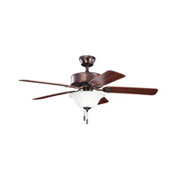 Kichler 330110OBB Renew Select 50 inch Oil Brushed Bronze with Walnut MS-97503 Blades Fan in Satin Etched Glass, Walnut / Cherry