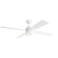 Kichler 330140WH Lija 52 inch White with White/Silver Blades Ceiling Fan
