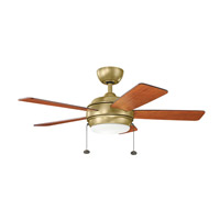 Kichler 330171NBR Starkk 42 inch Natural Brass with MEDIUM CHERRY/DARK CHERRY Blades Ceiling Fan photo thumbnail