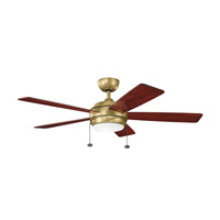 Kichler 330174NBR Starkk 52 inch Natural Brass with DARK CHERRY/MEDIUM CHERRY Blades Ceiling Fan alternative photo thumbnail