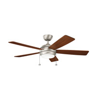 Kichler 330174NI Starkk 52 inch Brushed Nickel with Walnut/Brushed Nickel Blades Ceiling Fan in Silver