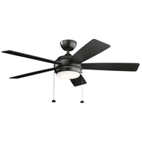 Kichler 330174SBK Starkk 52 inch Satin Black with SILVER/BLACK Blades Ceiling Fan