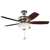 Kichler 330347BAP Terra Select 52 inch Burnished Antique Pewter with DARK CHERRY/WTHR WHT WALNUT Blades Ceiling Fan in White Etched Glass
