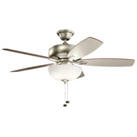 Kichler 330347NI Terra Select 52 inch Brushed Nickel with SILVER/WALNUT Blades Ceiling Fan in White Etched Glass