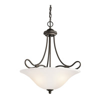 Kichler 3356OZ Stafford 3 Light 19 inch Olde Bronze Inverted Pendant Ceiling Light
