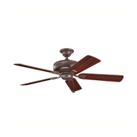 Kichler Lighting Saxon Fan in Tannery Bronze with Teak and Cherry Reversible Blades (not pictured) 339012TZ alternative photo thumbnail