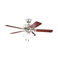 Kichler 339240NI Renew Premier 50 inch Brushed Nickel with Cherry MS-5291 Blades Fan in Satin Etched Glass