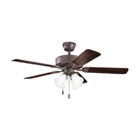 Kichler 339240TZ Renew Premier 50 inch Tannery Bronze with Teak MS-98556 Blades Fan in Satin Etched Glass