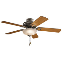 Kichler 339501OZ Sutter Place Select 52 inch Olde Bronze with WALNUT/CHERRY Blades Ceiling Fan in Umber Etched Glass