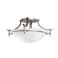 Olympia 3 Light 24 inch Antique Pewter Semi-Flush Ceiling Light in Satin Etched Glass