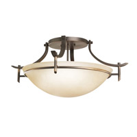 Kichler 3606OZ Olympia 3 Light 24 inch Olde Bronze Semi Flush Mount Ceiling Light in Sunset Marble Glass