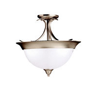 Dover 3 Light 15 inch Brushed Nickel Semi-Flush Ceiling Light in Satin Etched Glass, Standard