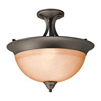 Signature 3 Light 15 inch Olde Bronze Semi-Flush Ceiling Light in Satin Etched Glass, Standard