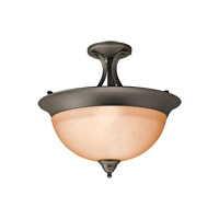 Signature 3 Light 15 inch Olde Bronze Semi-Flush Ceiling Light in Satin Etched Glass, Fluorescent