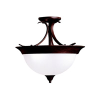 Kichler 3623TZ Dover 3 Light 15 inch Tannery Bronze Semi-Flush Ceiling Light in Satin Etched Glass, Standard