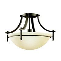 Kichler 3678OZ Olympia 1 Light 18 inch Olde Bronze Semi-Flush Ceiling Light in Sunset Marble Glass, Standard