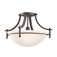 Kichler 3678OZW Olympia 1 Light 18 inch Olde Bronze Semi-Flush Mount Ceiling Light in Satin Etched Glass, Standard