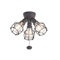 Kichler Fan Accessories 3 Light Fan Light Kit in Distressed Black 370041DBK