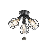Kichler Fan Accessories 3 Light Fan Light Kit in Satin Black 370041SBK