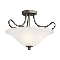 Kichler 3757OZ Stafford 2 Light 16 inch Olde Bronze Semi-Flush Ceiling Light