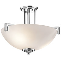Kichler 3797CH Eileen 3 Light 17 inch Chrome Semi-Flush Ceiling Light in Umber Etched Glass, Standard
