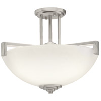Kichler 3797NI Eileen 3 Light 17 inch Brushed Nickel Semi-Flush Ceiling Light in Standard, Satin Etched Cased Opal