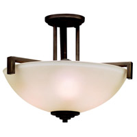 Eileen 3 Light 17 inch Olde Bronze Semi-Flush Ceiling Light in Umber Etched Glass, Standard