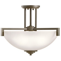 Kichler 3797OZS Eileen 3 Light 17 inch Olde Bronze Inverted Pendant Ceiling Light in Satin Etched Cased Opal