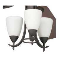 Olympia 3 Light Distressed Black Fan Light Kit in Satin Etched Glass