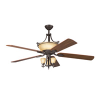 Kichler 380001OZ Olympia 3 Light Olde Bronze Fan Light Kit in Sunset Marble Glass photo thumbnail