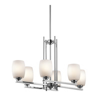 Kichler 3898CH Eileen 6 Light 16 inch Chrome Chandelier Linear (Single) Ceiling Light in Standard, Satin Etched Cased Opal